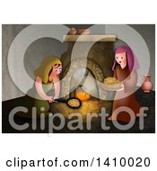 Clipart Of A Passover Scene Of Hebrew Women Baking Unleavened Bread Royalty Free Illustration by Prawny