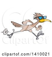 Clipart Of A Sprinting Roadrunner Bird Wearing Sunglasses Royalty Free Vector Illustration