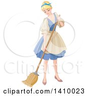 Blond Woman Cinderella Sweeping And Cleaning