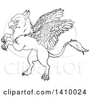 Clipart Of A Black And White Lineart Cute Griffin Mythical Creature Rearing Or Flying Royalty Free Vector Illustration by Pushkin