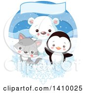 Poster, Art Print Of Cute Baby Penguin Fox Or Wolf And Polar Bear Cub In The Arctic Under A Banner With Snowflakes