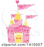 Clipart Of A Pink Fairy Tale Castle With Heart Flags Royalty Free Vector Illustration by Pushkin