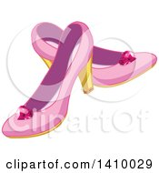 Clipart Of A Pair Of Pink Princess High Heel Shoes Royalty Free Vector Illustration