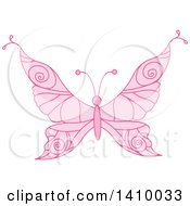 Clipart Of A Pink Princess Butterfly Royalty Free Vector Illustration