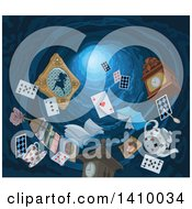 Clipart Of Items Falling Down A Rabbit Hole Royalty Free Vector Illustration by Pushkin