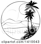 Clipart Of A Black And White Travel Design Of Palm Trees A Bay Mountains And Sunset Royalty Free Vector Illustration by dero
