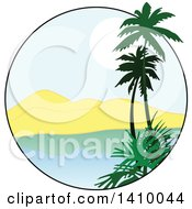 Clipart Of A Travel Design Of Palm Trees A Bay Mountains And Sunset Royalty Free Vector Illustration