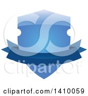 Clipart Of A Gradient Blue Shield And Banner Design Element Royalty Free Vector Illustration