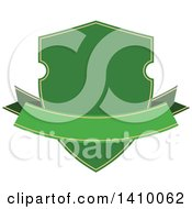 Clipart Of A Green Shield And Banner Design Element Royalty Free Vector Illustration