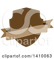 Clipart Of A Brown Shield And Banner Design Element Royalty Free Vector Illustration