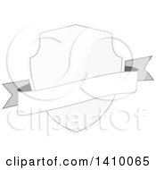 Clipart Of A Gradient White Shield And Banner Design Element Royalty Free Vector Illustration