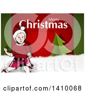 Merry Christmas And Happy New Year Greeting On Green And Red Stripes With Snow A Tree And Boy