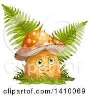 Clipart Of A Happy Female Mushroom With Ferns Royalty Free Vector Illustration
