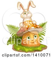 Clipart Of A Happy Female Mushroom With Ferns And A Rabbit Royalty Free Vector Illustration