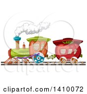 Clipart Of A Tomato And Bell Pepper Produce Train Royalty Free Vector Illustration by merlinul