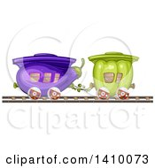 Clipart Of A Green Bell Pepper And Eggplant Produce Train Royalty Free Vector Illustration