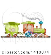Clipart Of A Bell Pepper Produce Train Royalty Free Vector Illustration