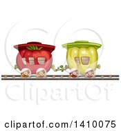 Clipart Of A Green Bell Pepper And Tomato Produce Train Royalty Free Vector Illustration