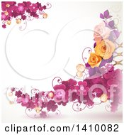 Purple Clover And Rose Floral Background
