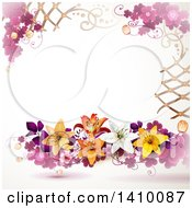 Purple Clover And Lily Floral Background