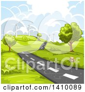 Clipart Of A Hilly Rural Country Road With A Wind Farm Royalty Free Vector Illustration by merlinul