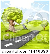 Clipart Of A Hilly Rural Country Road Royalty Free Vector Illustration by merlinul