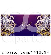 Clipart Of A Eid Mubarak Background With An Ornate Gold Design And Text Royalty Free Vector Illustration by KJ Pargeter