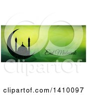 Clipart Of A Eid Mubarak Background With A Silhouetted Mosque And Text Royalty Free Vector Illustration by KJ Pargeter