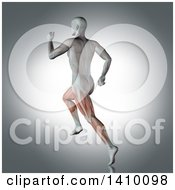 Clipart Of A 3d Anatomical Man With Visible Leg Muscles Running On A Gray Background Royalty Free Illustration
