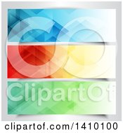 Clipart Of Blue Orange And Green Geometric Website Banners Royalty Free Vector Illustration