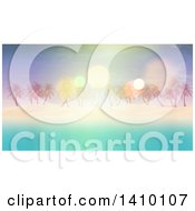 Clipart Of A 3d Island With White Sand Palm Trees And Blue Water With Flares Royalty Free Illustration