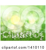 Clipart Of A 3d Grassy Hill With Daisies And Grass Against Green Flares Royalty Free Illustration