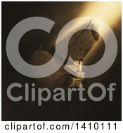 Clipart Of 3d HD CCTV Security Surveillance Cameras Mounted On A Wall In Dramatic Lighting Royalty Free Illustration