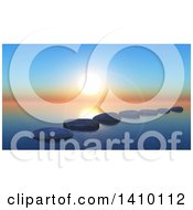 Clipart Of A Line Of 3d Stepping Stones On Water Under A Sunset Sky Royalty Free Illustration by KJ Pargeter