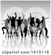 Clipart Of A Group Of Silhouetted Dancers Over Gray Royalty Free Vector Illustration