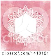 Clipart Of A White Doily And Pink Watercolor Wedding Invitation Design Royalty Free Vector Illustration