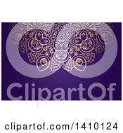 Clipart Of A Golden Ornate And Purple Background Or Business Card Design Royalty Free Vector Illustration