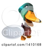 Clipart Of A 3d Mallard Drake Duck On A White Background Royalty Free Illustration