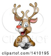 Clipart Of A Happy Rudolph Red Nosed Reindeer Over An Edge Royalty Free Vector Illustration