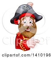 Clipart Of A Happy Male Pirate Captain Pointing Around A Sign Royalty Free Vector Illustration