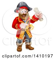 Clipart Of A Happy Male Pirate Captain Holding A Treasure Map And Pointing Royalty Free Vector Illustration