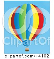 Colorful Hot Air Balloon Floating In A Clear Blue Sky
