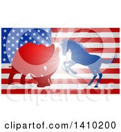 Clipart Of A Silhouetted Political Democratic Donkey Or Horse And Republican Elephant Battling Over An American Flag And Burst Royalty Free Vector Illustration