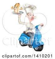 White Male Chef With A Curling Mustache Holding A Hot Dog On A Scooter