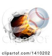 Clipart Of A 3d Flying And Blazing Baseball With A Trail Of Flames Breaking Through A Wall Royalty Free Vector Illustration