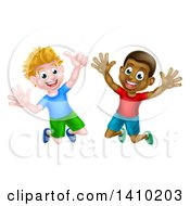 Clipart Of Happy Excited White And Black Boys Jumping Royalty Free Vector Illustration