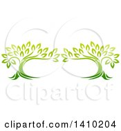 Clipart Of A Design Of Two Gradient Green Mature Trees Forming A Frame Royalty Free Vector Illustration