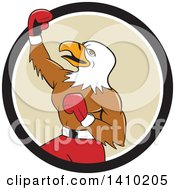 Clipart Of A Cartoon Bald Eagle Man Boxer Pumping His Fist In A Black White And Tan Circle Royalty Free Vector Illustration