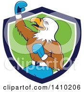 Clipart Of A Cartoon Bald Eagle Man Boxer Pumping His Fist In A Blue White And Green Shield Royalty Free Vector Illustration