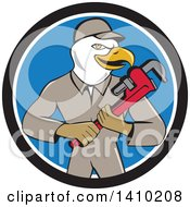 Cartoon Bald Eagle Plumber Man Holding A Monkey Wrench In A Black White And Blue Circle
